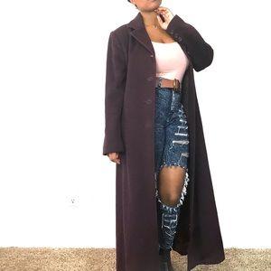 Anne Klein deep purple 100% wool trench coat